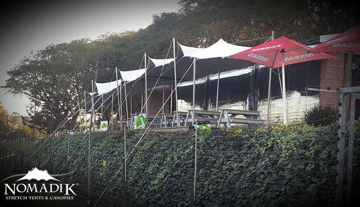 Stretch tent cover pavilion