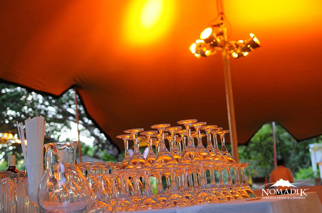 Glasses inside a Stretch Tent